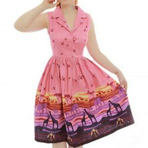 Lindy Bop Matilda Pink Safari Swing Dress